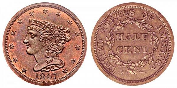 1847 Braided Hair Half Cent Penny - Original
