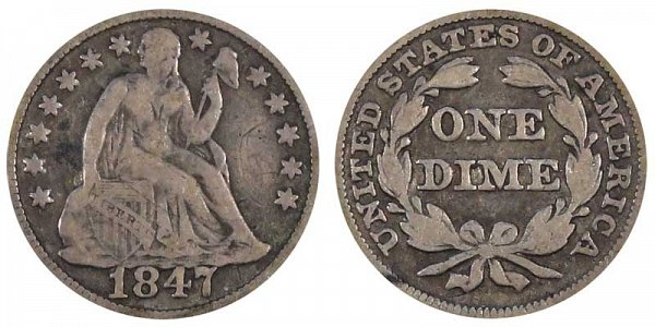 1847 Seated Liberty Dime