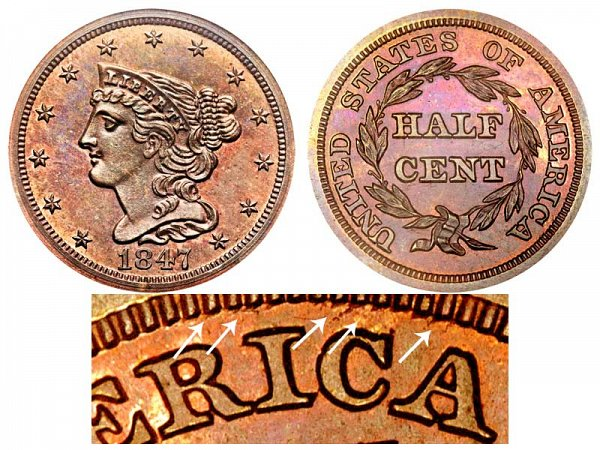 1847 Braided Hair Half Cent Penny - Second Restrike