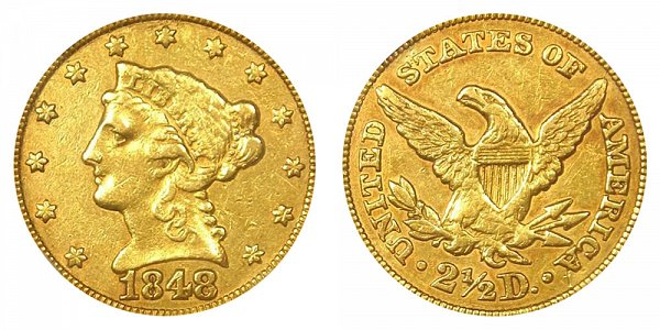 1848 C Liberty Head $2.50 Gold Quarter Eagle - 2 1/2 Dollars