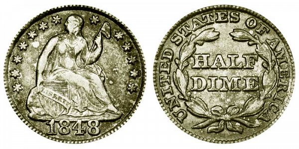 1848 Large Date Seated Liberty Half Dime