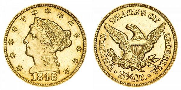 1848 Liberty Head $2.50 Gold Quarter Eagle - 2 1/2 Dollars