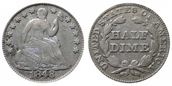 1848 Medium Date Seated Liberty Half Dime