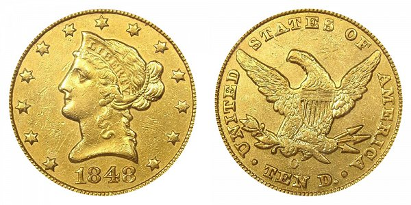 1848 O Liberty Head $10 Gold Eagle - Ten Dollars