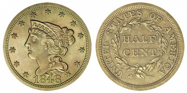 1848 Braided Hair Half Cent Penny - Original