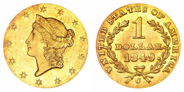 1849 C Liberty Head Gold Dollar G$1 - Closed Wreath