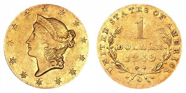 1849 C Liberty Head Gold Dollar G$1 - Open Wreath