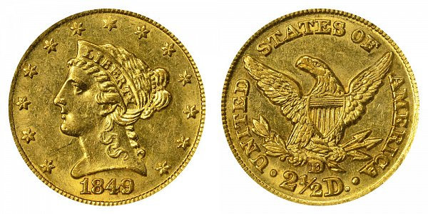 1849 D Liberty Head $2.50 Gold Quarter Eagle - 2 1/2 Dollars