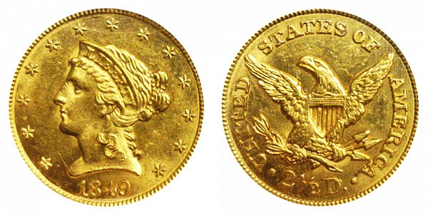 1849 Liberty Head $2.50 Gold Quarter Eagle - 2 1/2 Dollars