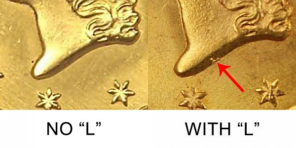 1849 No L vs With L Open Wreath  Liberty Head Gold Dollar - Difference and Comparison