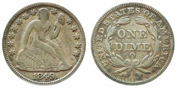 1849 O Seated Liberty Dime