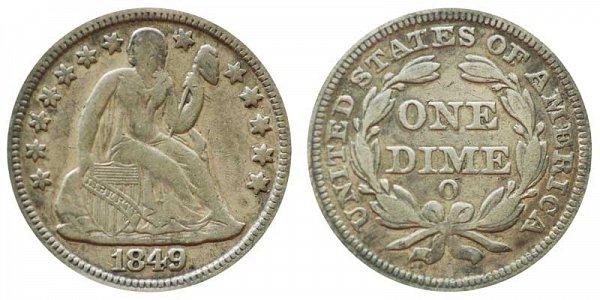 1849 O Seated Liberty Dime