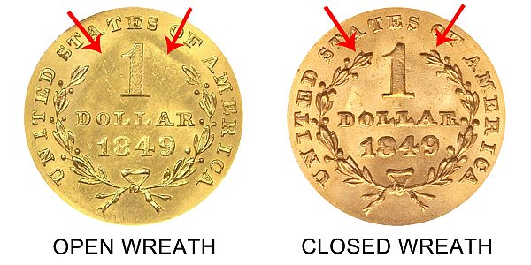 1849 Open Wreath vs Closed Wreath Liberty Head Gold Dollar - Difference and Comparison