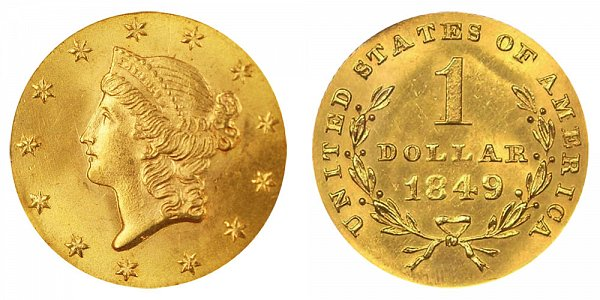 1849 Liberty Head Gold Dollar G$1 - Open Wreath - With L