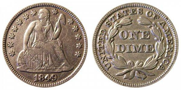 1849 Seated Liberty Dime