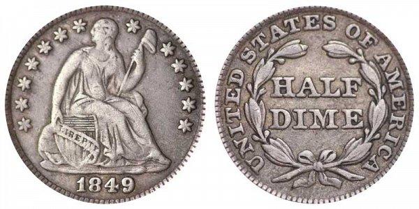 1849 Seated Liberty Half Dime