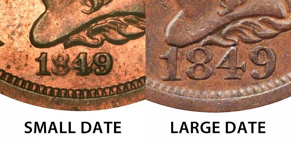 1849 Small Date vs Large Date Braided Hair Half Cent - Difference and Comparison