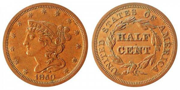 1850 Braided Hair Half Cent Penny