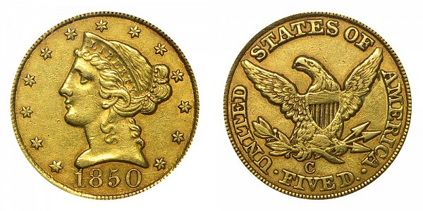 1850 C Liberty Head $5 Gold Half Eagle - Five Dollars