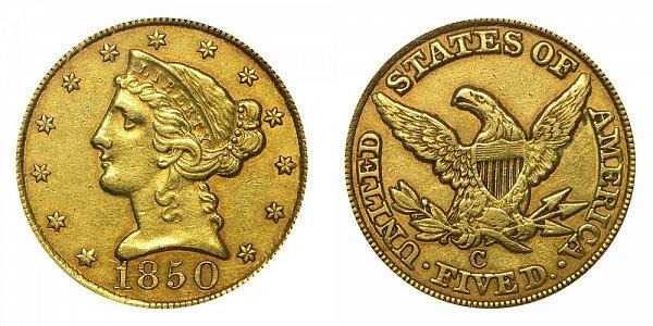 1850 C Liberty Head $5 Gold Half Eagle - Five Dollars