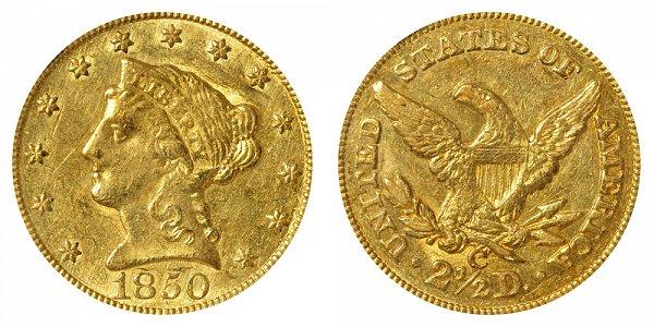 1850 C Liberty Head $2.50 Gold Quarter Eagle - 2 1/2 Dollars