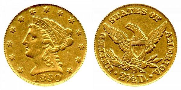 1850 D Liberty Head $2.50 Gold Quarter Eagle - 2 1/2 Dollars