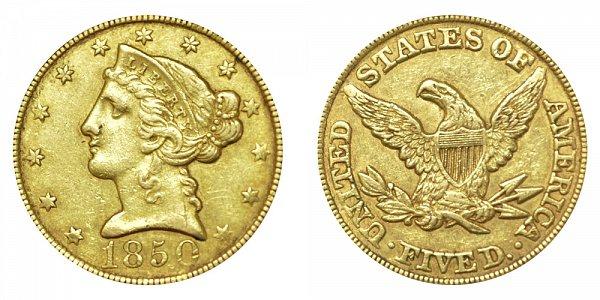 1850 Liberty Head $5 Gold Half Eagle - Five Dollars