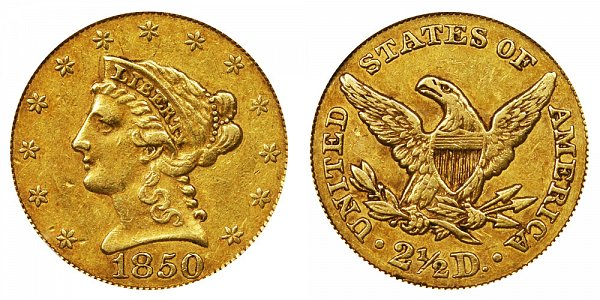 1850 Liberty Head $2.50 Gold Quarter Eagle - 2 1/2 Dollars
