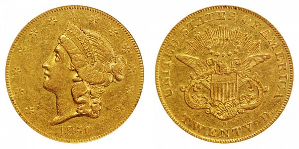 1850 O Liberty Head $20 Gold Double Eagle - Twenty Dollars