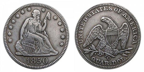 1850 O Seated Liberty Quarter
