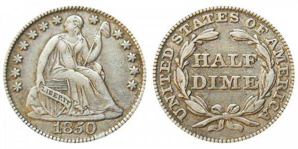 1850 Seated Liberty Half Dime
