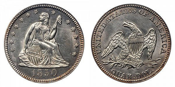 1850 Seated Liberty Quarter