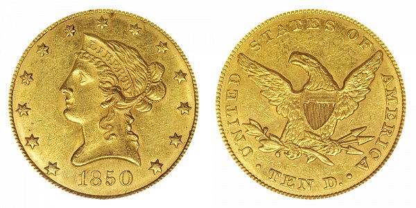 1850 Small Date - Liberty Head $10 Gold Eagle - Ten Dollars