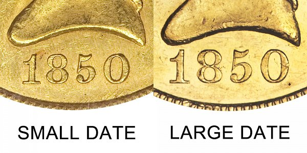 1850 Small Date vs Large Date - $10 Liberty Head Gold Eagle - Difference and Comparison