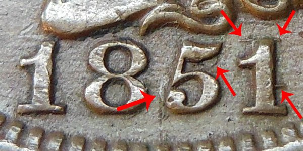 1851/81 Braided Hair Large Cent Penny - 51 Over 81 Overdate