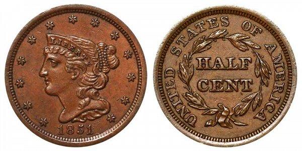 1851 Braided Hair Half Cent Penny