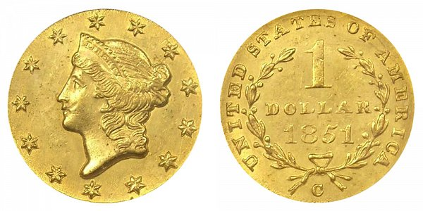 1851 C Liberty Head Gold Dollar G$1