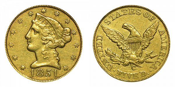 1851 C Liberty Head $5 Gold Half Eagle - Five Dollars