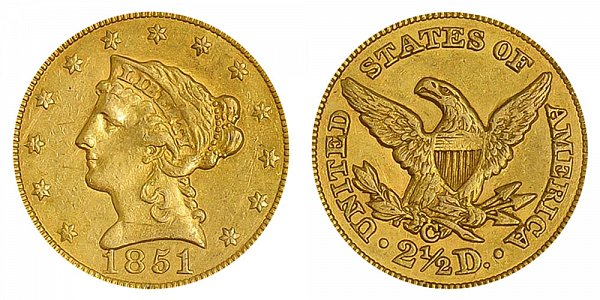 1851 C Liberty Head $2.50 Gold Quarter Eagle - 2 1/2 Dollars