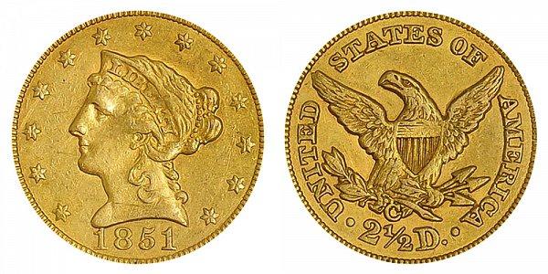 1851 C Liberty Head $2.50 Gold Quarter Eagle - 2 1/2 Dollars