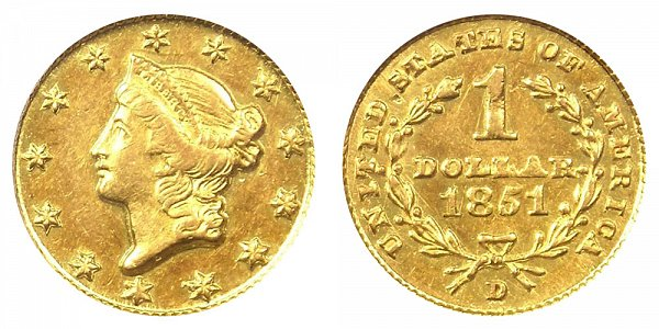 1851 D Liberty Head Gold Dollar G$1
