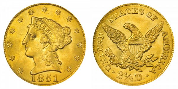 1851 Liberty Head $2.50 Gold Quarter Eagle - 2 1/2 Dollars