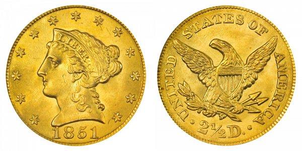 1851 Liberty Head $2.50 Gold Quarter Eagle - 2 1/2 Dollars