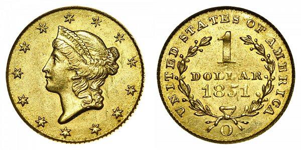 1851 O Liberty Head Gold Dollar G$1