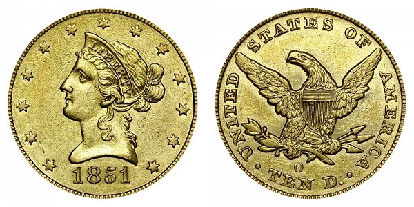 1851 O Liberty Head $10 Gold Eagle - Ten Dollars
