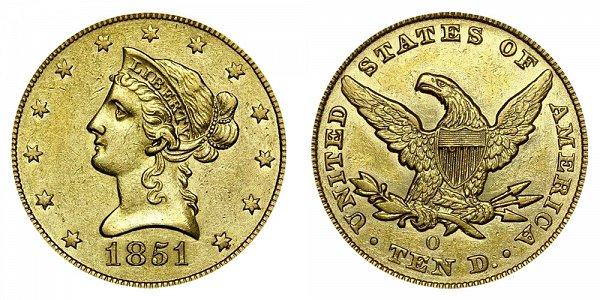 1851 O Liberty Head $10 Gold Eagle - Ten Dollars