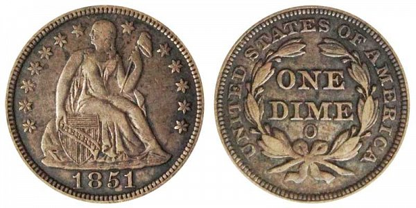 1851 O Seated Liberty Dime