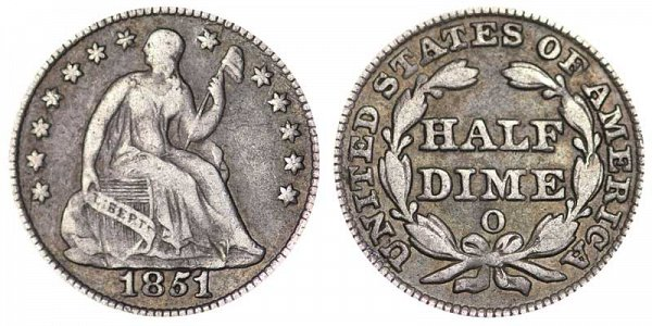 1851 O Seated Liberty Half Dime