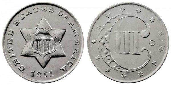 1851 O Silver Three Cent Piece Trime