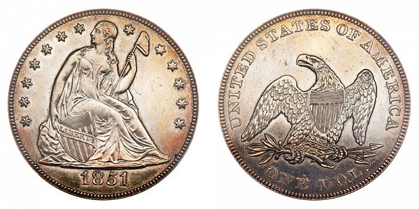 1851 Seated Liberty Silver Dollar Original Strike - High Date